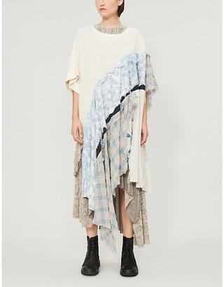 WEN PAN Contrast-panel asymmetric cotton T-shirt