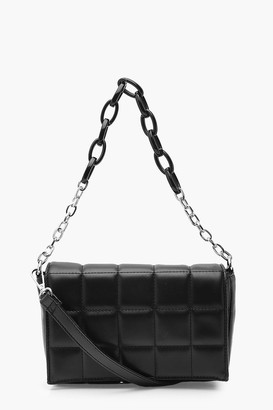 boohoo PU Quilted Cross Body Bag With Chunky Chain