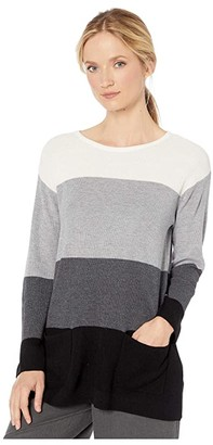 Vince Camuto Two-Pocket Waffle Stitch Color Block Sweater (Antique White) Women's Sweater