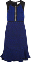 3.1 Phillip Lim Silk Satin-trimmed Jacquard Mini Dress - Navy