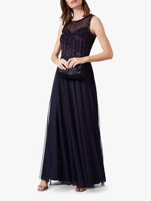 Phase Eight Martha Beaded Maxi Dress, Navy