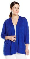Leo & Nicole Women's Plus-Size 3/4 Sleeve Open Cardi with Pointelle Detail