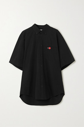 Balenciaga Embroidered Cotton Shirt - Black