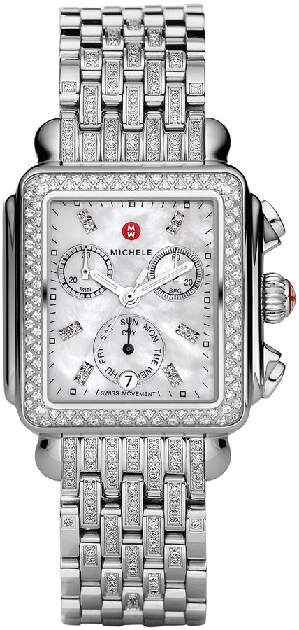 Michele Deco 18 Steel Diamond Taper Bracelet Watch