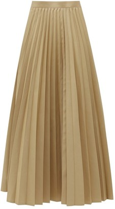 Junya Watanabe Pleated Cotton-blend Twill Maxi Skirt - Beige