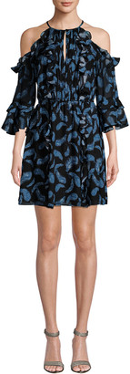 Rachel Zoe Cold-Shoulder Ruffle Dress