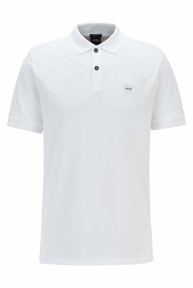 HUGO BOSS Mens Prime Slim-fit Polo Shirt in Washed Cotton pique White