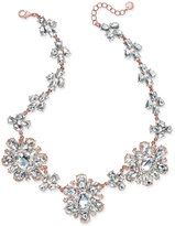 Charter Club Rose Gold-Tone Crystal Cluster Statement Necklace, Only at Macy's