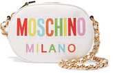 Moschino Printed Leather Shoulder Bag - White