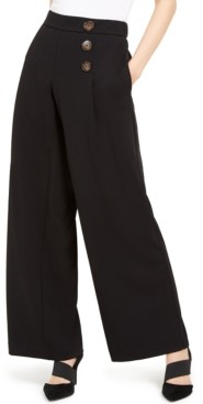 Alfani Button-Detail Wide-Leg Pull-On Pants, Created for Macy's