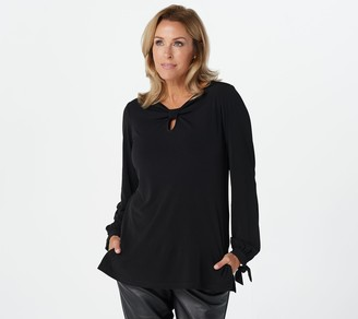 Susan Graver Liquid Knit Long Sleeve Top with Keyhole Detail