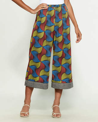 Hache Abstract Print Wide Leg Cropped Pants