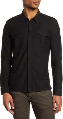 John Varvatos Easy Fit Knit Button-Up Shirt