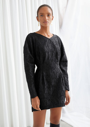And other stories Structured Floral Jacquard Mini Dress