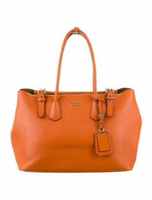 Prada Soft Calf Buckle Tote Orange