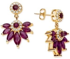 Macy's Certified Ruby (4 ct. t.w.) & Diamond (1/4 ct. t.w.) Drop Earrings in 14k Gold