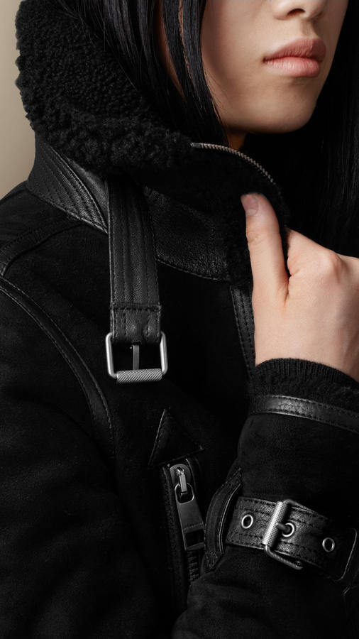 Burberry Oversize Collar Shearling Jacket