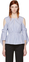 3.1 Phillip Lim Blue & White Striped Cold Shoulder Blouse
