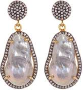 Gold Plated Sterling Silver 8mm Grey Freshwater Baroque Pearl & CZ Drop Earrings