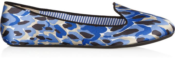 Charles Philip Shanghai Sheila leopard-print satin slippers