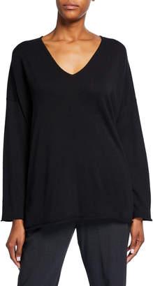 eskandar V-Neck A-Line Raw-Edge Cashmere Sweater
