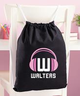 Personalized Planet Backpacks Black - Black & Pink Headphone Personalized Drawstring Bag