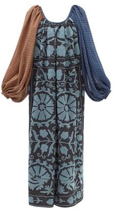 RIANNA + NINA Patchwork Boat-neck Cotton-canvas And Silk Dress - Multi