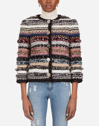 Dolce & Gabbana Short Tweed Gabbana Jacket With Braiding And Bejeweled Buttons