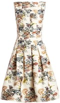 Oscar de la Renta Floral-Print Seam Box Pleat A-Line Dress