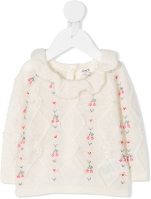 Bonpoint Cable-Knit Embroidered Cardigan