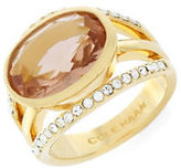 Cole Haan Oval Center Stone Pave Crystal and 12K Yellow Gold Bar Ring