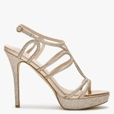 Daniel Ambie Gold Glitter Cage Evening Sandals