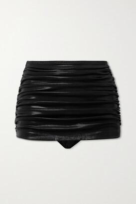 Norma Kamali Bill Ruched Stretch-lame Bikini Briefs - Black