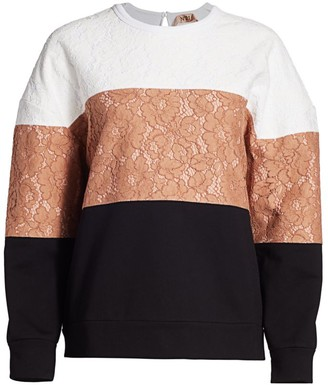 No.21 Colorblock Lace Pullover