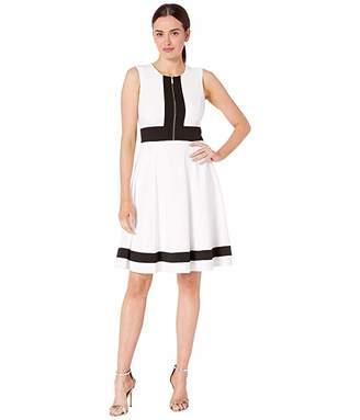 Calvin Klein Color Block A-Line w/ Front Bodice Zipper