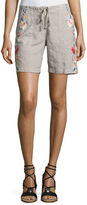 Johnny Was Janelle Embroidered Linen Shorts, Plus Size