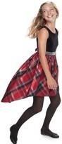 Bonnie Jean Girl's 7-16 Strech Velvet Sequin Waist Trim Dress