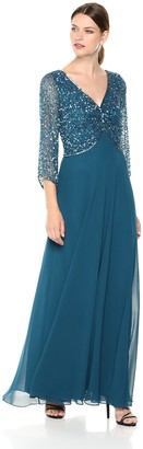 J Kara Women's 3/4 Sleeve V-Neck Beaded Top Long Gown