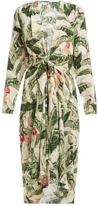 Adriana Degreas X Cult Gaia - Knotted Tropical-print Silk Cover Up - Green