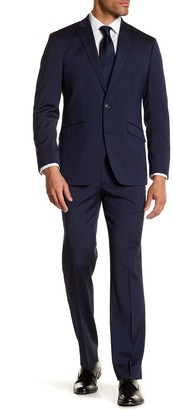 Kenneth Cole Reaction Navy Blue Solid Two Button Performance Slim Fit Suit