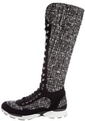 Chanel Tweed Knee-High Sneakers