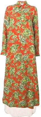 Ami Paris Long Dress Flower Shirt With Long Sleeves