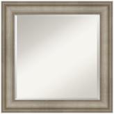 "Amanti Art Mezzanine Antique Silver Narrow Wood Wall Mirror, 25""x25"""