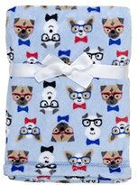 Baby Gear Ultra-soft Plush Blue Dogs Baby Blanket