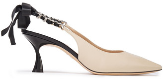 Casadei Duse Chain-trimmed Leather Slingback Pumps