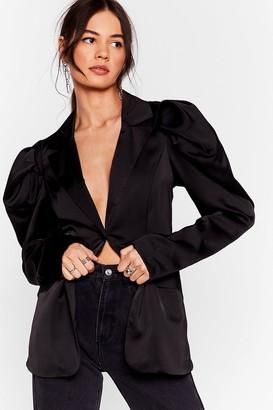 Nasty Gal Womens Satin It to Win It Satin Puff Sleeve Blazer - Black - L
