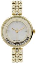 Geneva Platinum Gold Crystal-Accent Bracelet Watch