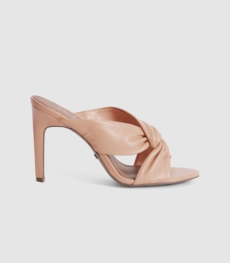 Reiss ELLA LEATHER TWIST FRONT HEELED MULES Pale Pink