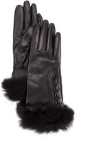 UGG Analise Leather Gloves w/Fur Trim