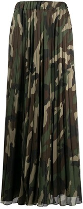 P.A.R.O.S.H. Camouflage Pleated Maxi Skirt